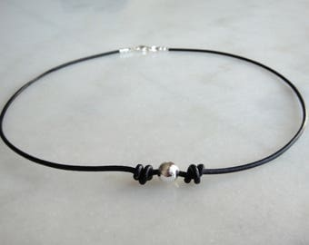 Black leather necklace made of sterling silver and black leather cord - leather necklace for men and women - leather silver choker