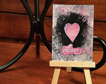 ACEO Original Painting signed by Artist Love Art Card Free Shipping
