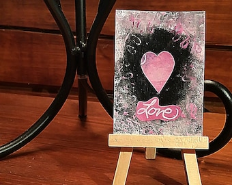 ACEO Original Painting signed by Artist Love ATC Artist Trading Card Heart