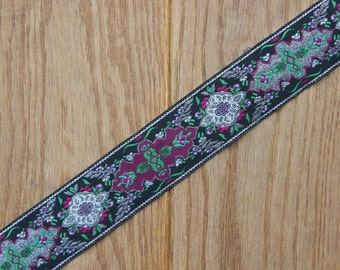 Handmade Black, Green, Purple & Silver 40mm adjustable guitar style bag strap