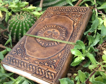 Leather Bound Sketchbook – Sun Symbol Journal – Leather Embossed Notebook – Handmade Journal
