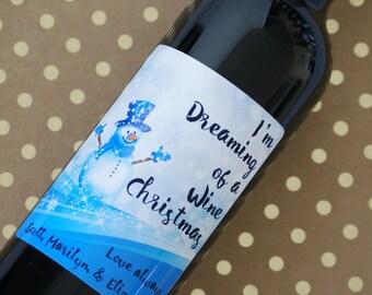 Personalized Christmas Label, Christmas Wine Label, Holiday Label, Holiday Wine Label, Christmas Gift, Custom Wine Label, Wine