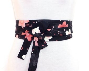 Haute Couture & Japanese fabric, Reversible Waist belt, Obi style black pink sakura cherry blossom wide asian sash kimono floral flower s