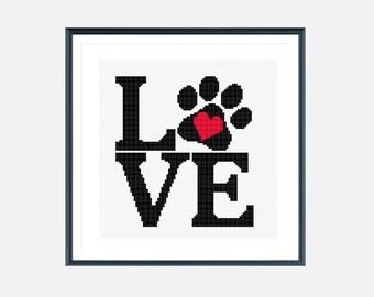 Love cross stitch pattern, dog cross stitch, puppy paw cross stitch, easy cross stitch, modern cross stitch pattern pdf