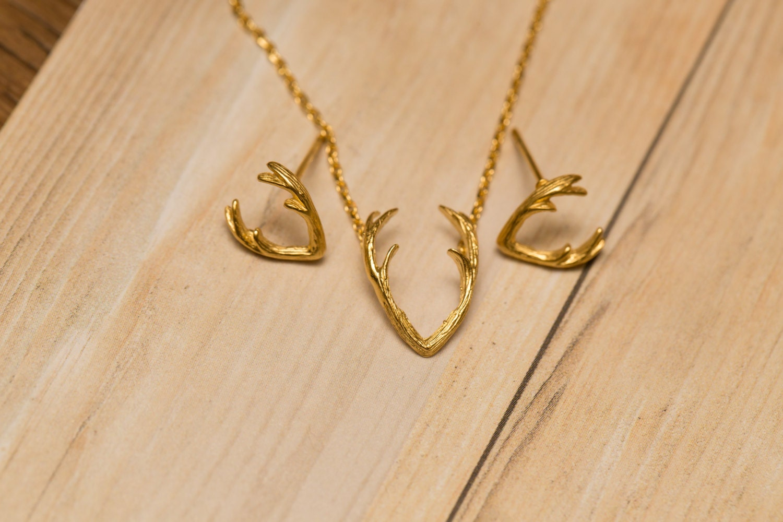 antler stud earrings gold or gold