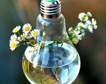 Clear Light Bulb Shape Glass Hanging Vase Bottle Terrarium Hydroponic Container Flower DIY Home Wedding Decor