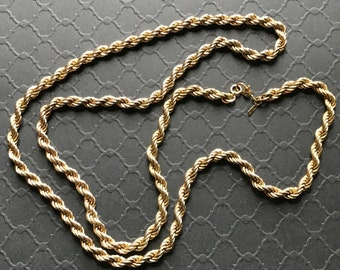 "Vintage MONET  30"" Long  Gold Tone Heavy Twisted Rope Chain Necklace, Excellent Condition"