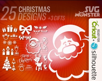 CHRISTMAS BUNDLE SVG • Cut Files for Electronic Vinyl Cutter • png • Cricut Design Space, Silhouette Xmas Whishes Invitations • 005