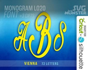 MONOGRAM FONT svg Circle  VIENNA Cut Files Electronic Vinyl Cutter Cricut Silhouette 3 three letters vine script 118