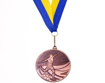 Medal On Ribbon Soccer Commemorative Ukraine Team Sports Father's Day Gift