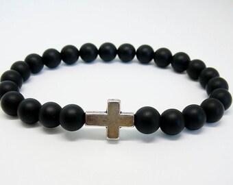 Men's cross bracelet for man black bracelet cross jewelry Black onyx bracelet with cross beaded bracelet for boyfriend gift for men jewelry