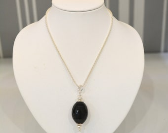 Necklace in 925 Silver and Onyx