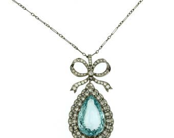 15 Carat Aquamarine Diamond Drop Platinum Pendant