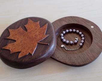 Canada 150th anniversary unique handmade wooden jewellery / keepsake / coin box. Maple leaf jewelry box. Black Walnut