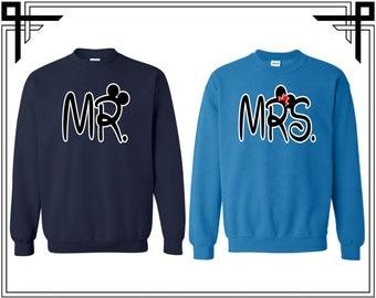 Mr Mrs Cartoon Font Cartoon Ears Couple Love Couple Crewneck Sweater Crewneck Sweatshirt Sweater Couple Matching Sweatshirt Gift Sweatshirt