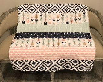 Aztec Baby Girl Quilt - Baby Blanket- Pink, Blue, Arrows