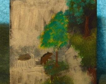 Bears fishing near a waterfall painting on canvas - Alaska wildlife - Mother Nature