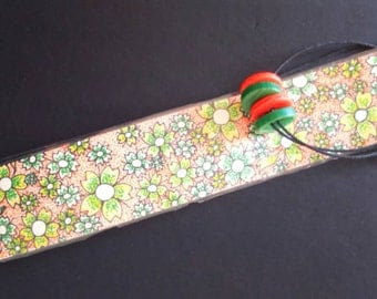 Cherry blossom bookmark with button page markers, double-sided, pointilism and dotwork colouring. Ask for your own colours!