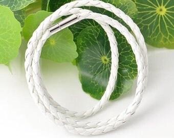 Womens mens white leather bracelet, White braided leather bracelet, Cheap bracelet, Simple charming bracelet, Magnetic clasp bracelet