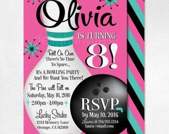 Retro Bowling Invitations, Bowling Alley Birthday Party, Retro Bowling Theme, Printing Bowling Invites, DI-205FC
