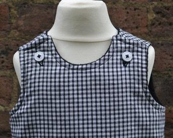 Pinafore Black/ White Cotton Gingham + Fleece Dress, T12-18+