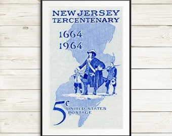 New Jersey, New Jersey posters, New Jersey art, New Jersey history, New Jersey wall art, New Jersey decor, New Jersey gifts, New Jersey USA