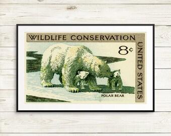 Polar bears, polar bear posters, polar bear art, polar bear decor, US postage stamps, polar bear wall art, cute polar bears, polar bear gift