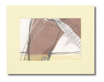 Paper collage mixed media drawing, original abstract art on paper, signed 8 by 10 modern minimal art