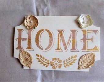 "Shabby chic romantic ""Home"" door plate"