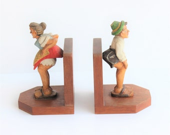 Mid-century/Pair/Carved/Wooden Book Ends/Hand pinted  Bookends/Bayern/Figurine Bookends/Book Decor/Book Accessories