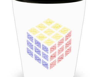 Science Rules! Chemistry, Physics, Biology Cube! DAD Gift!! Let him know how much you care! White Ceramic Shot Glass Gift!