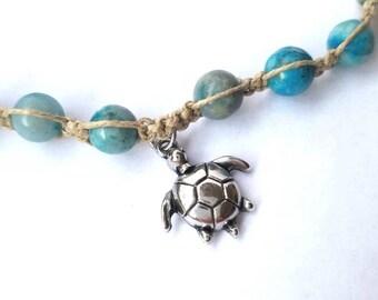 Beachy anklet, hemp anklet, hemp jewelry, hippie ankle bracelet, gypsy bracelet, boho bracelet, sea turtle jewelry, teen girl gifts, macrame