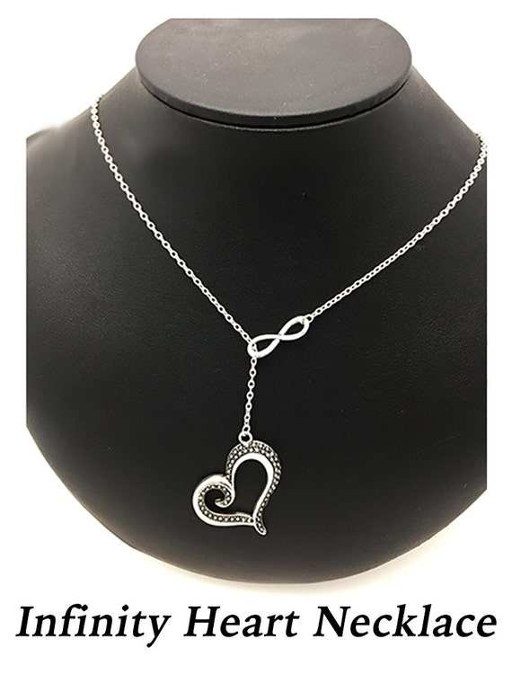 """Valentine Heart Infinity Necklace, Silver Finish, 24""""  **99cent Shipping -FREE 10+**"""