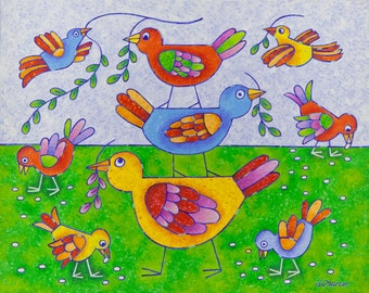 Colorful Birds - Original acrylic painting on canvas