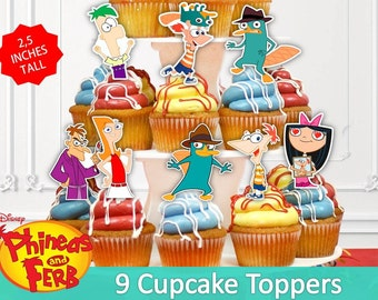 Phineas and Ferb Cupcake Toppers, Printable, Phineas and Ferb Party, Children Party, 9 Toppers, Digital, Printable.