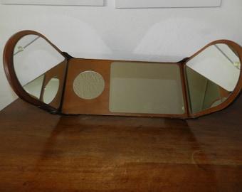 Mirror - triptych - vintage - wood