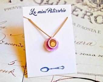 Handmade miniature tea cup necklace - miniature food jewelry, teacup necklace, tea jewelry