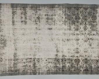"""5'6"""" x 8'5"""" - INDUSTRIAL GRAY VINTAGE Overdyed Turkish Oushak Rug - 1940s Handwoven Oushak Decorative Overdyed Rug"""