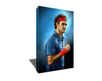 FREE SHIPPING Tennis Elite Roger Federer Portrait Canvas Art