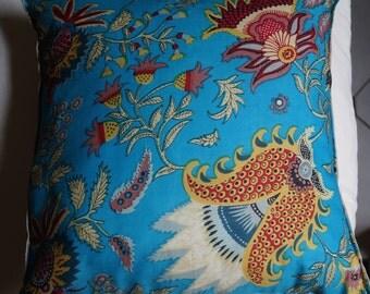 Spring series 1: Pillow, 40 x 40 or 16 x 16 blue cotton, Indian floral motifs, linen.
