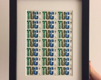 Framed 1968 Trades Union Congress (TUC) Centenary GB stamps - block of 21 4d stamps