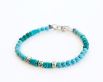 Turquoise & Chrysocolla Goddess Bracelet  // Crystal Jewellery // Gemstone Bracelets// Crystal Healing // Hilltribe Silver // Thai Silver //