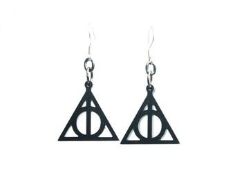 Harry Potter earrings, harry potter jewelry, deathly hallows earrings, deathly hallows dangle earrings