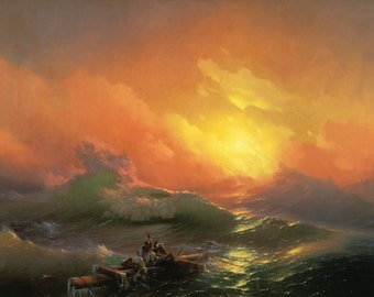 Ivan Ajvazovski : The Ninth Wave (1850) Canvas Gallery Wrapped Wall Art Print