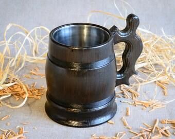 Wooden mugs, Personalized Beer mug, Wood cup, Wedding gift, Wooden Mug, Wooden beer mug, large wooden mug, wooden mug with metal inside