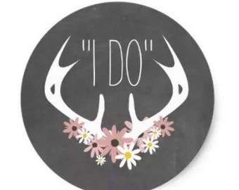 "24 PCS ""I Do"" Rustic Sticker, Seals, Scrapbook Supplies, Stationary, Paper, Paper Stickers, Stickers, Paper Supplies, Party Supply"