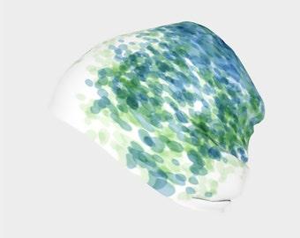 Green and Blue Rain Drops Slouchy Beanie Cap, Warm Slouchy Cap, Beanies, Adult and Kids Beanies, Winter Hats, Winter Caps