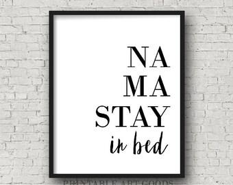NAMASTE ART | Namastay in bed, Yoga Wall Decor, Namaste in bed, Modern Home Decor, Trending Art Prints, Dorm Room Decor, Meditation Artwork