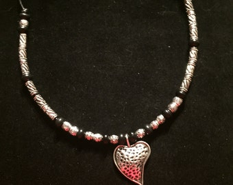 Silver heart and black leather necklace, black gemstone necklace