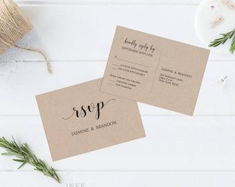 RSVP Postcard, RSVP template, Wedding rsvp, rsvp Postcard, wedding rsvp cards, rsvp printable, Response Card, PDF Instant Download #E017